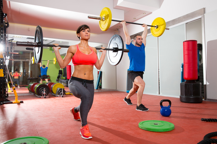 Crossfit fitness gym weight lifting bar group