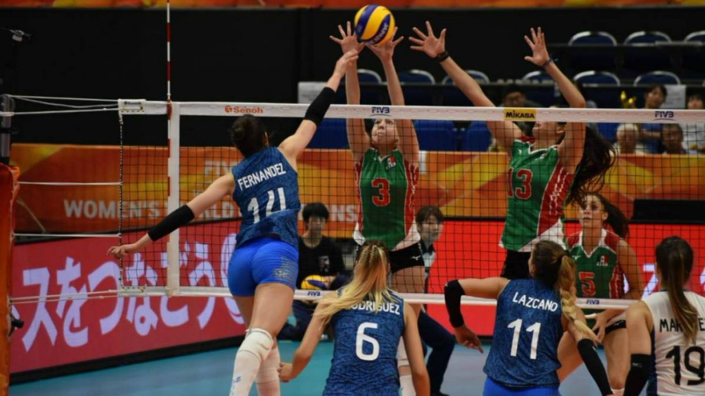 Partido de voleibol entre México y Argentina en el Mundial de 2018.