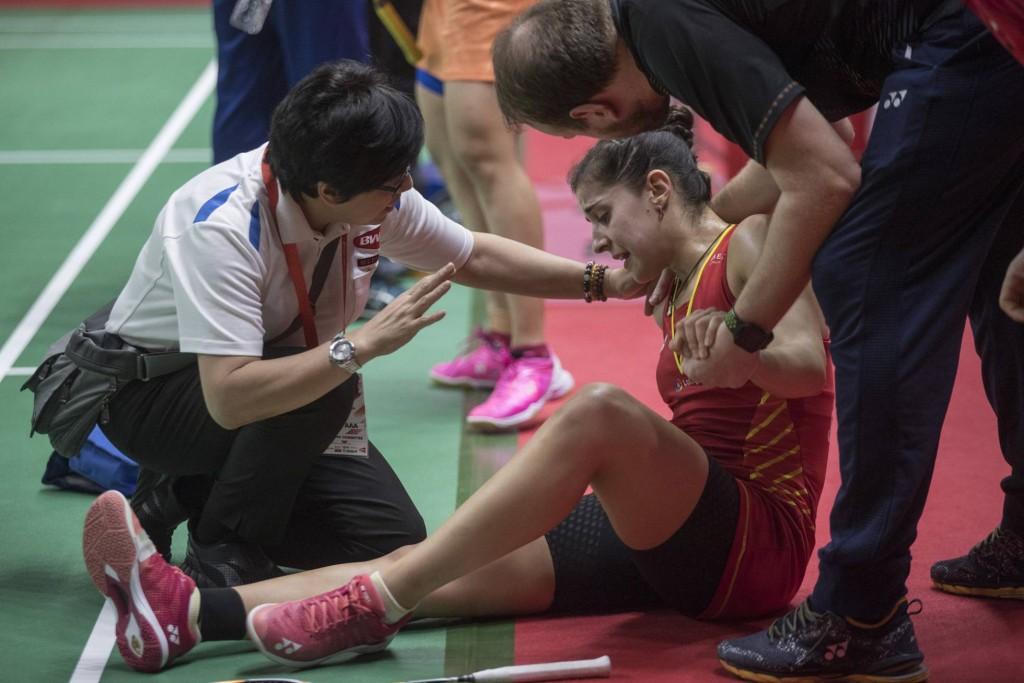 Carolina Marín, en el momento de la lesión en enero de 2019 Foto. Julian Rojas