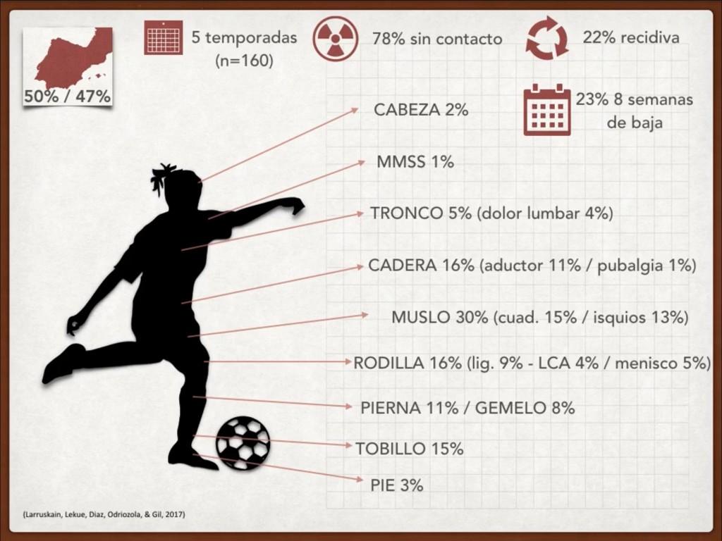 Distribución de lesiones en la mujer futbolista (Referencia bibliográfica 2) (Gráfico: Esther Morencos).