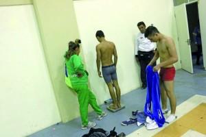 Pesaje en una competición de judo.